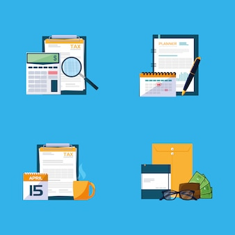 書類とオフィスセットアイテム