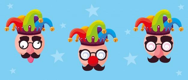 Первоапрельский день с сумасшедшими лицами и шляпами-джокерами