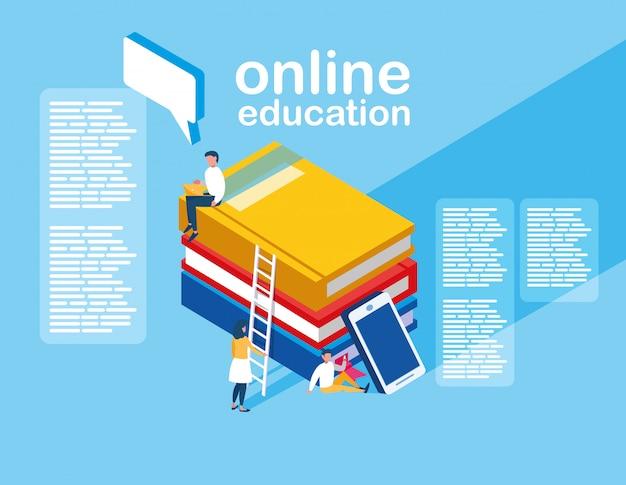 スマートフォンと電子書籍を備えたオンライン教育ミニの人々