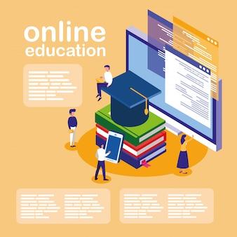 デスクトップとミニの人々とのオンライン教育