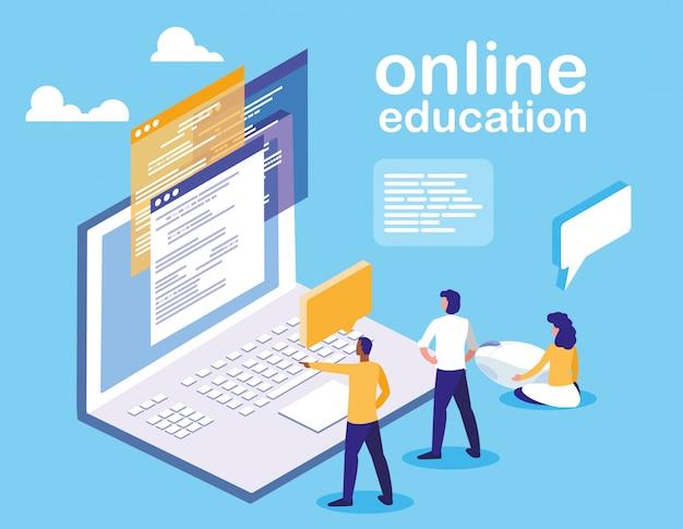 Онлайн обучение с ноутбуком и мини людьми