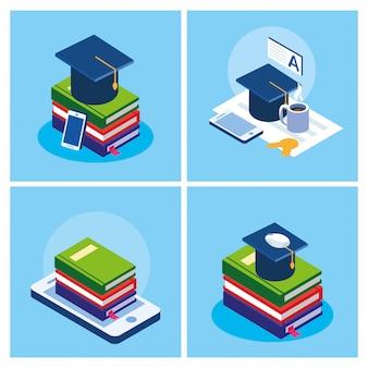 Интернет-образование набор иконок