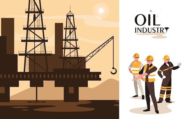 海洋プラットフォームと労働者のいる石油産業シーン