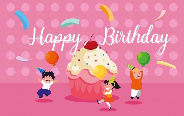 小さな子供を祝うと誕生日カード