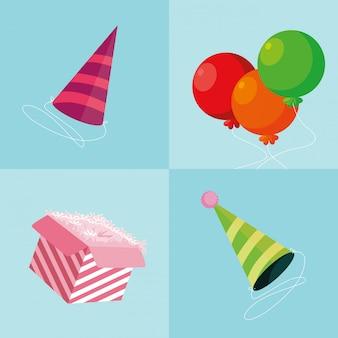 風船ヘリウムとギフトボックス付きパーティーハット