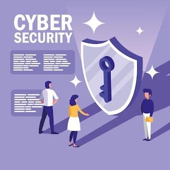 シールドとサイバーセキュリティを持つミニ人々