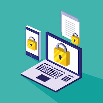 ラップトップとスマートフォンによるサイバーセキュリティ