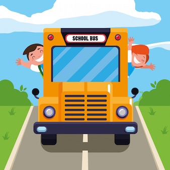 Счастливые школьники дети в школьном автобусе