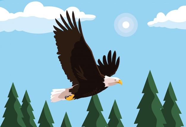 Птица белоголового орлана летит с ландшафтом