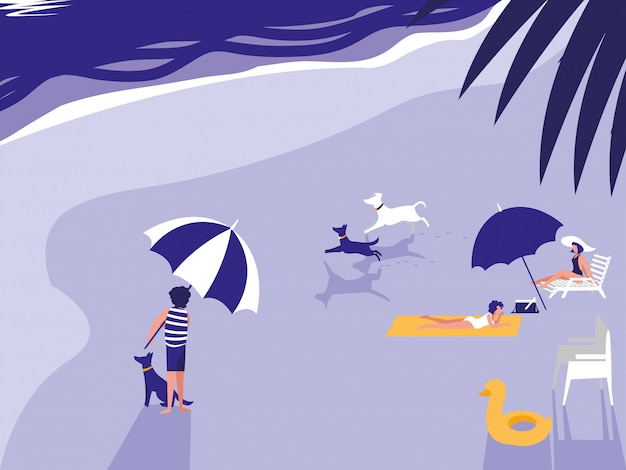 熱帯のビーチの海の人々
