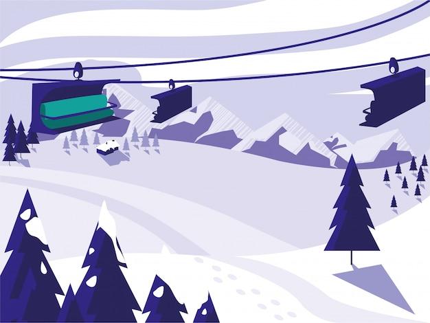 Лыжный лагерь снежный пейзаж