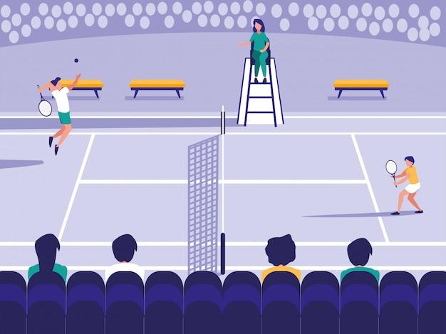 テニススポーツコートシーン