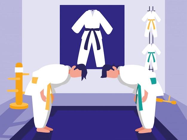 Сцена боевых искусств додзё