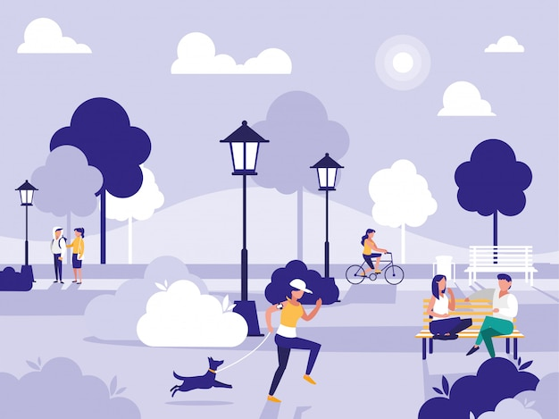 椅子とランプのある公園の人々