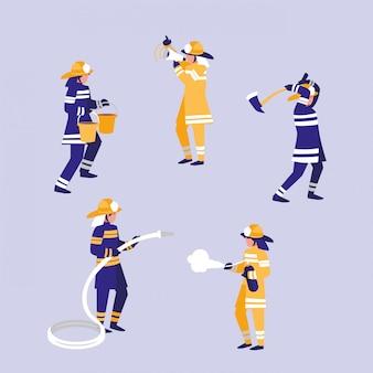 消防士のアバターキャラクターのグループ