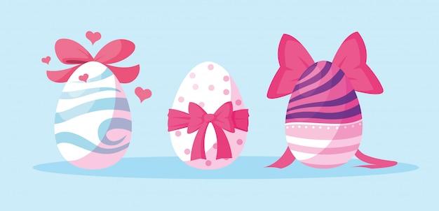 Набор украшенных пасхальных яиц
