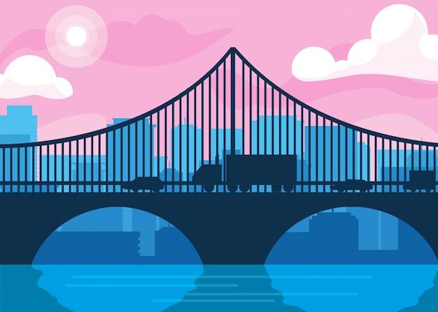 橋と建物の街並みシーン