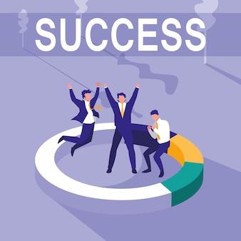Успешные бизнесмены празднуют со статистическим пирогом