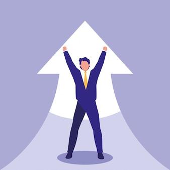 Успешный бизнесмен празднует со стрелкой вверх