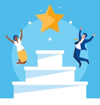 階段で祝う成功するビジネスカップル