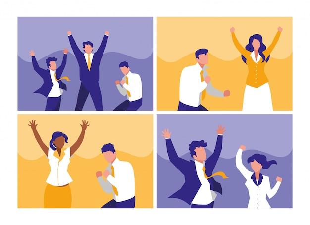 文字を祝う成功したビジネス人々