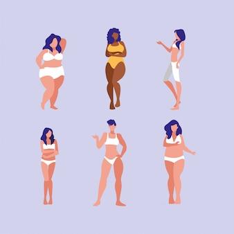 Женщины разных размеров и рас моделируют нижнее белье