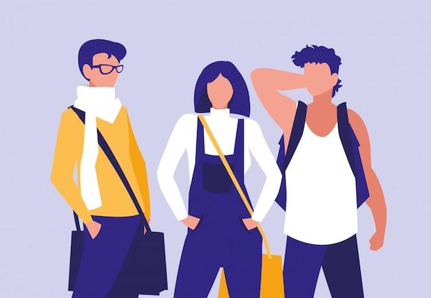 Групповое моделирование молодых людей с сумочками