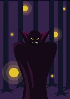 ハロウィーンのシーンで吸血鬼を装った男