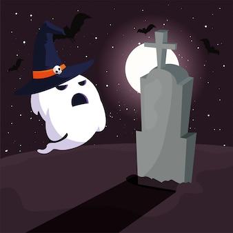 墓地のシーンで月とハロウィーンゴースト