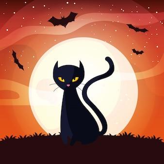 ハロウィーンのシーンで月と黒猫