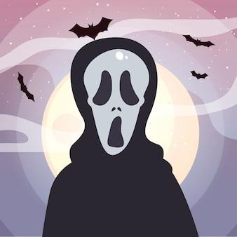 ハロウィーンのシーンで死者の頭蓋骨