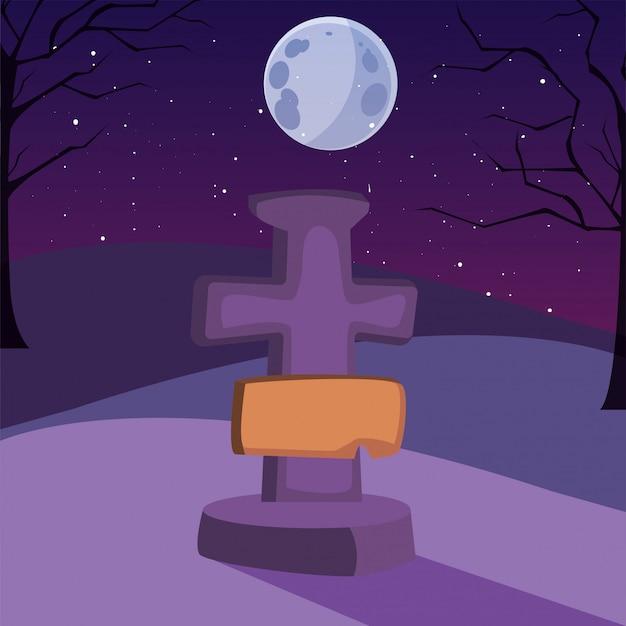 ハロウィーンのシーンで月とキリスト教の十字架