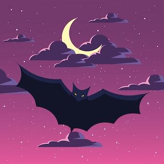 ハロウィーンのシーンで飛んでいるコウモリ