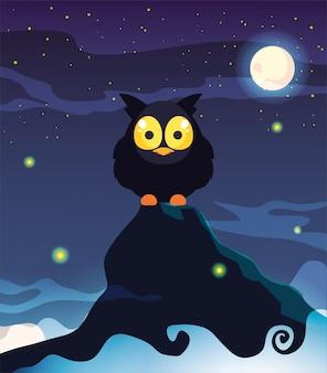 ハロウィーンのシーンで月とメンフクロウ