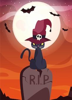 墓地のシーンでウィザードの帽子と黒猫