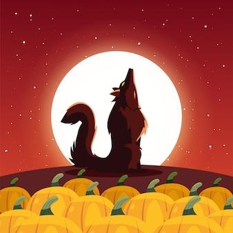 Злой волк воет на луну в сцене хэллоуина