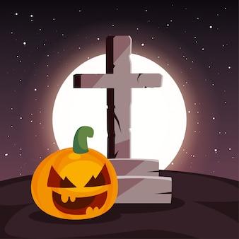 墓地のシーンで月とキリスト教の十字架