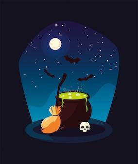 ハロウィーンのシーンで魔女の大釜
