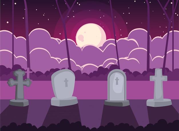 ハロウィーンのシーンで月と墓地墓石