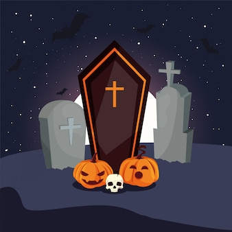 Деревянный гроб с христианским крестом на сцене кладбища