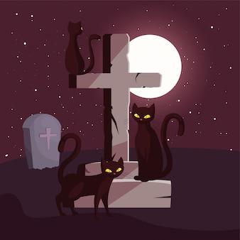 ハロウィーンのシーンで黒猫とキリスト教の十字架