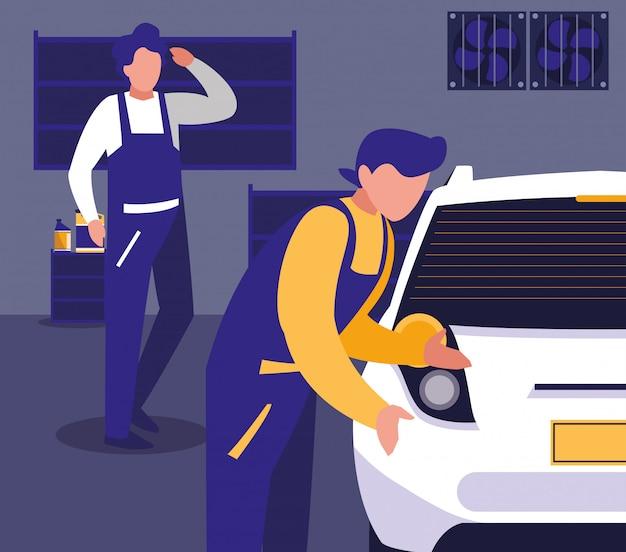 Автомобиль в мастерской с командой механиков