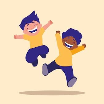 かわいい小さな子供たちがアバターキャラクターをジャンプ