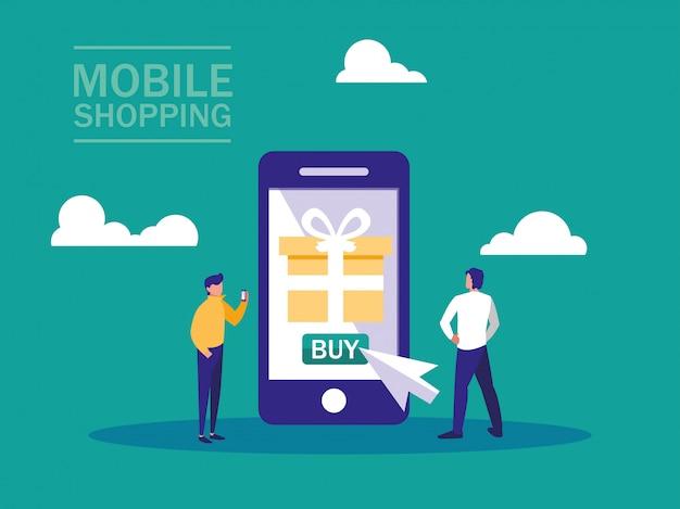 Покупки онлайн со смартфоном и мини людьми