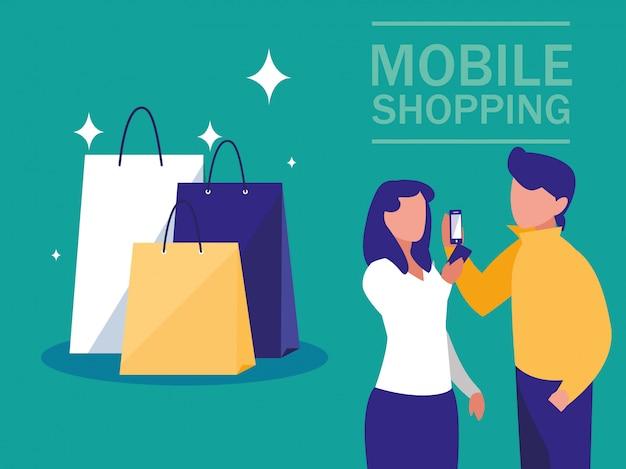 Мини люди со смартфоном и покупки онлайн