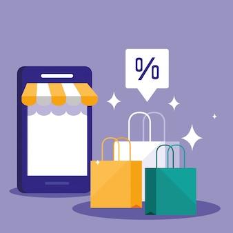 Покупки онлайн со смартфоном и сумками