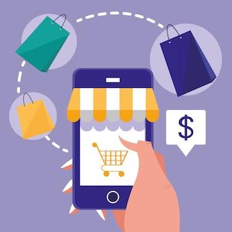 Рука и смартфон с покупками онлайн