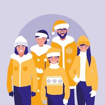 クリスマスの服と家族のグループ