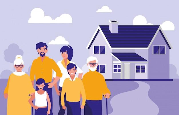 家を持つ家族のグループ
