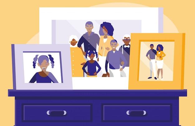 引き出しの中の黒い家族写真の肖像